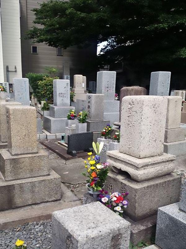 中茶屋明神墓地 花が供えられた墓石