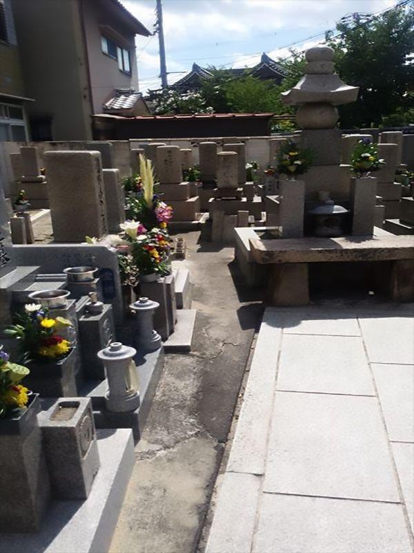 徳庵橋本墓地 花が添えられた墓石