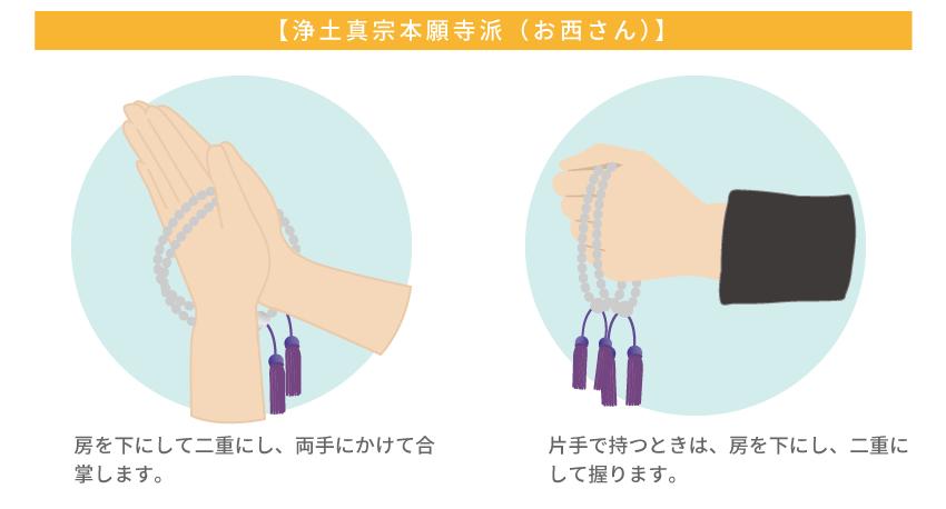 浄土真宗(お西さん)の数珠の持ち方と解説