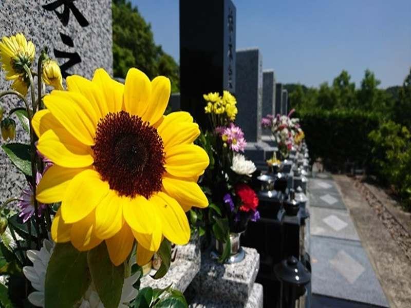 大阪柏原聖地霊園 花が添えられた墓石