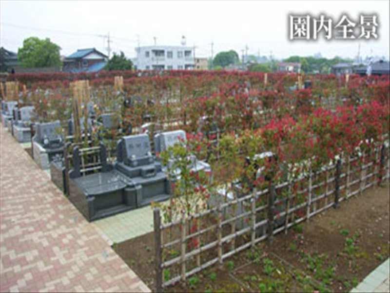 多摩川台墓苑 生垣で仕切られた園内風景