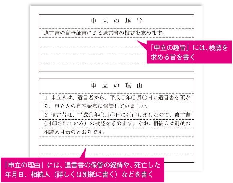 遺言書の検認申立書の書き方
