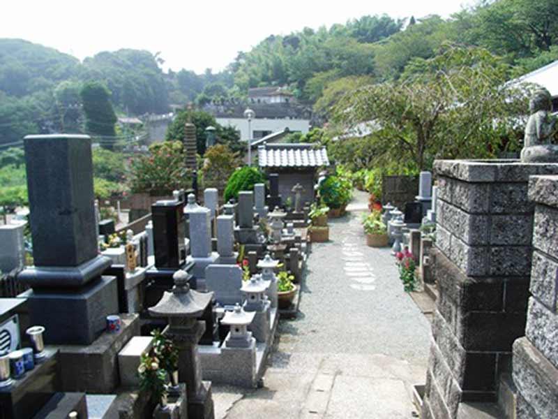 妙音寺 花が添えられた墓域