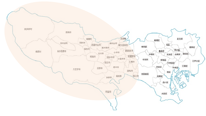 東京都の地図(23区外に印あり)