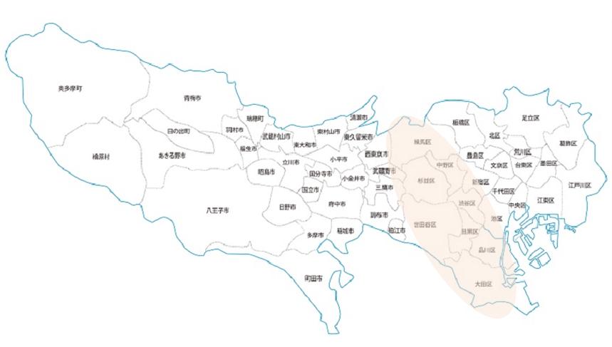 東京都の地図(23区西エリアに印あり)