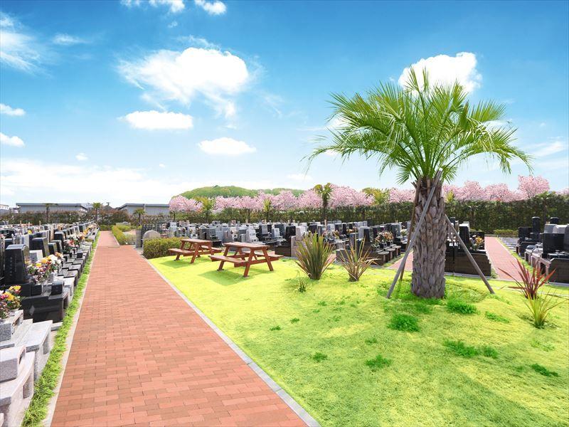 第二朝霞聖地霊園 開放感を演出するヤシの木