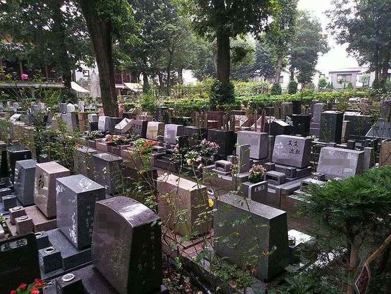 小平ふれあいパーク 様々な墓石が混在