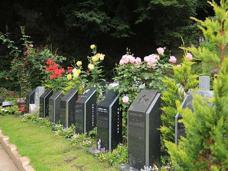 鎌倉やすらぎの杜 色とりどりのバラに囲まれた墓域