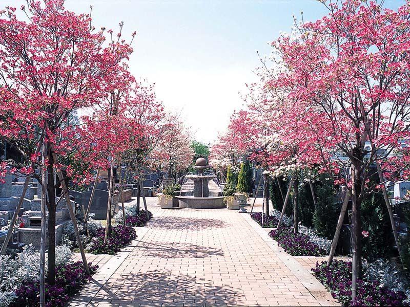 小平メモリアルガーデン ガーデニング型樹木葬「フラワージュ」 美しい植栽が彩りを添える参道