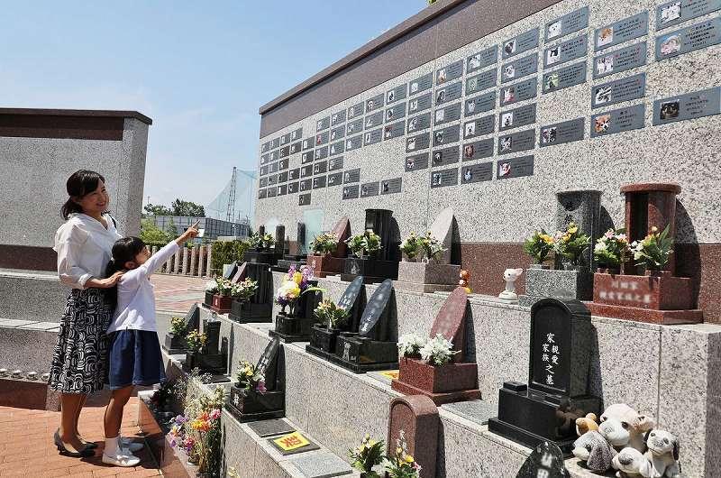 美原東ロイヤルメモリアルパーク 花が供えられた墓石