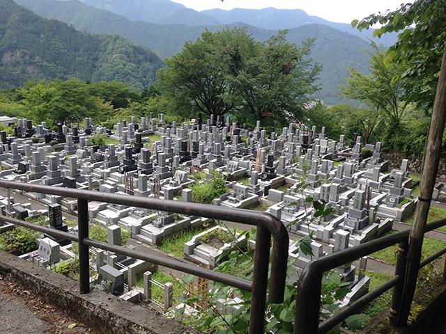 奥多摩霊園の墓地全景
