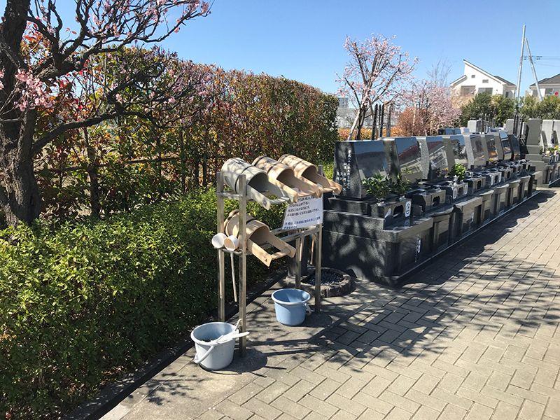 第二草加聖地霊園 毛長の里 自由に利用が可能な桶や柄杓