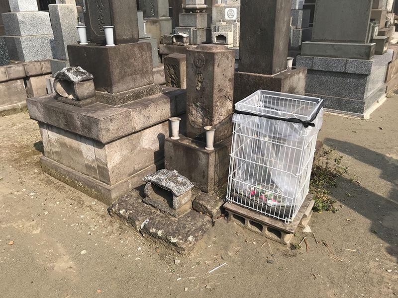 大田萩中霊園 墓域内にあるゴミ箱
