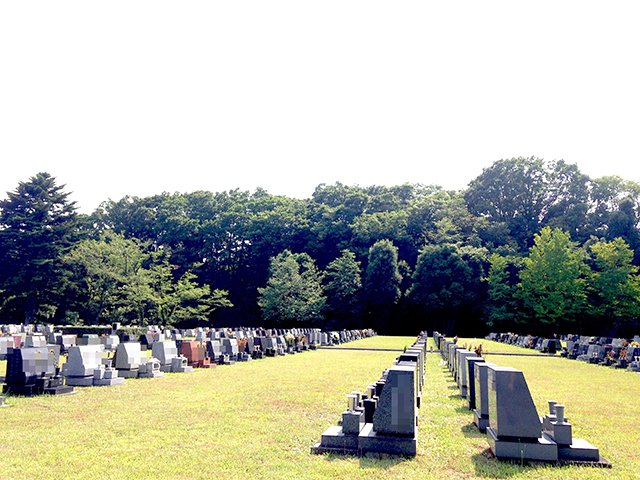 都立 八王子霊園 幅広い間隔で墓石が並ぶ墓域