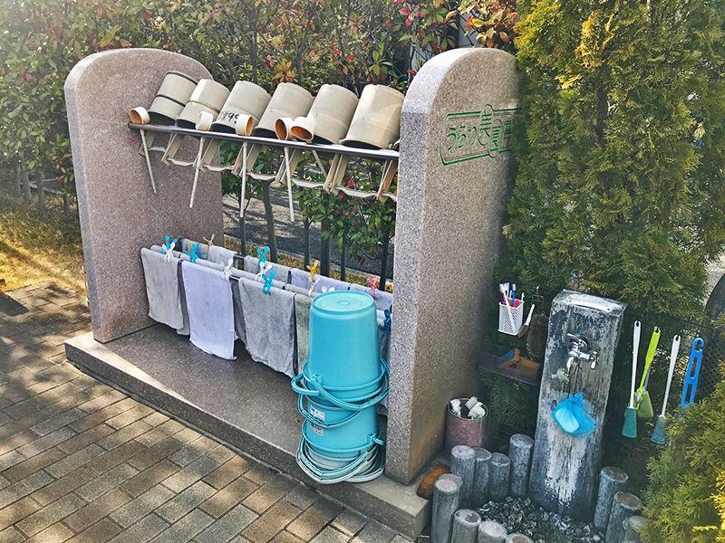 うらわ美園霊苑「永遠の絆」永代供養墓 参拝道具と水汲み場