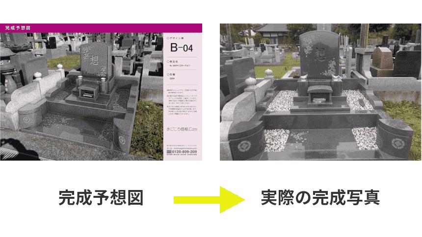 お墓の完成予想図と実際の写真