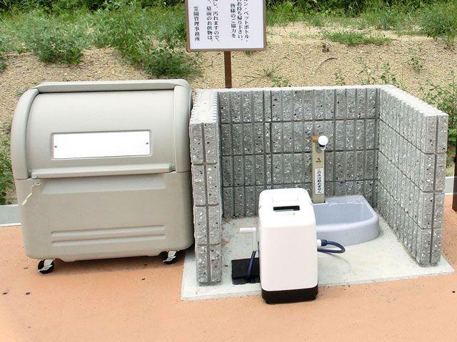 小川中央霊園の水場・ゴミ捨て場