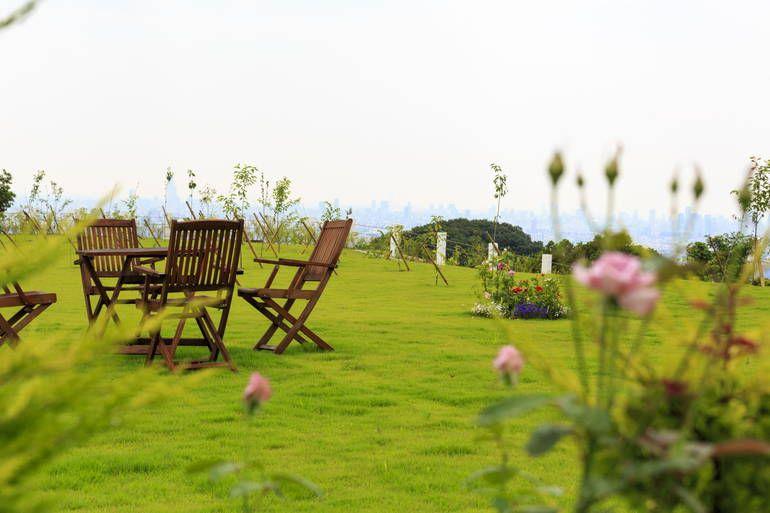 ふれあいの杜 天空 植栽のある休憩スペース