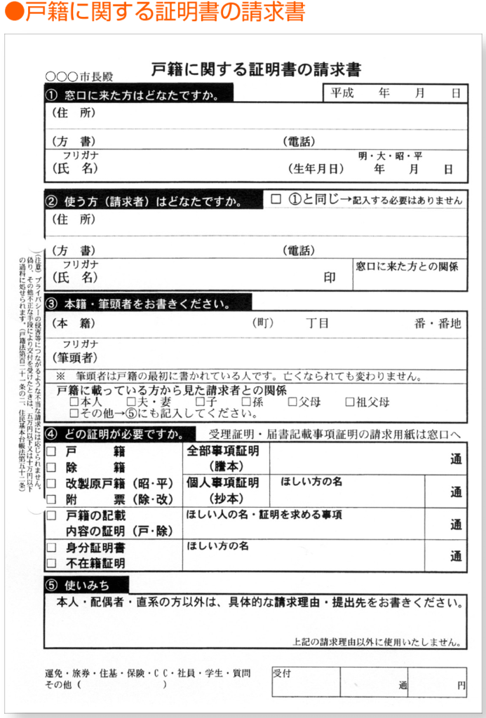 戸籍に関する証明書の請求書