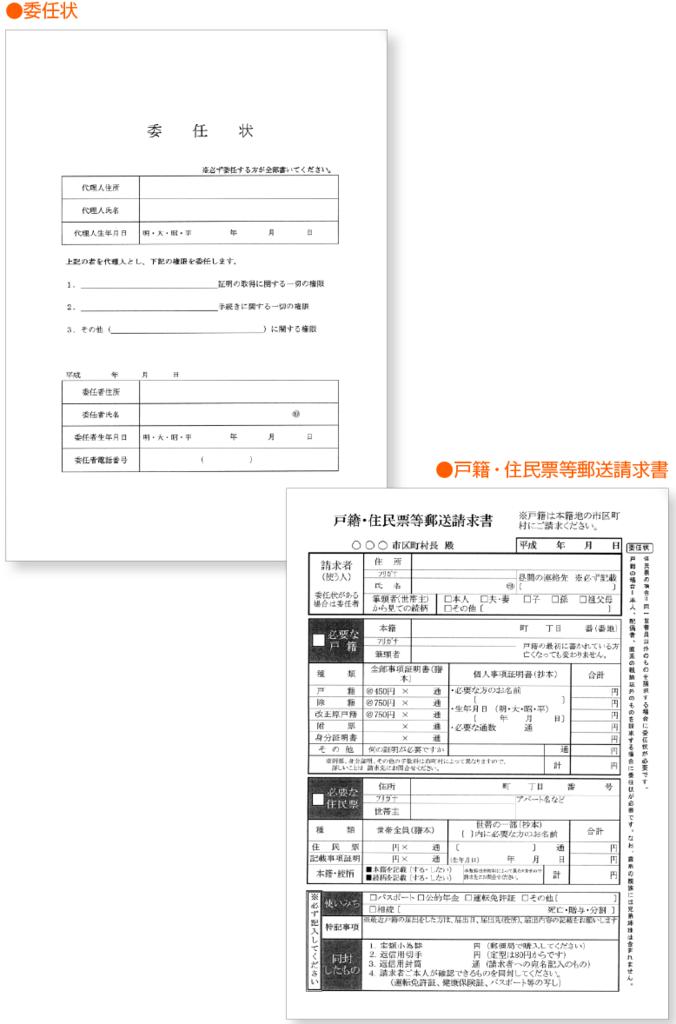 委任状と戸籍・住民票等郵送請求書