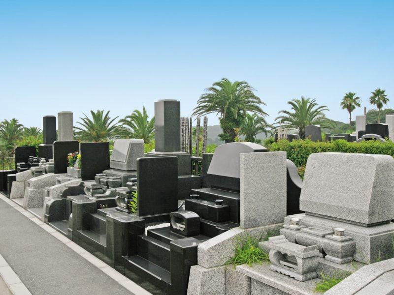 やすらぎの里 南葉山霊園のソテツが生えた高級墓石区域