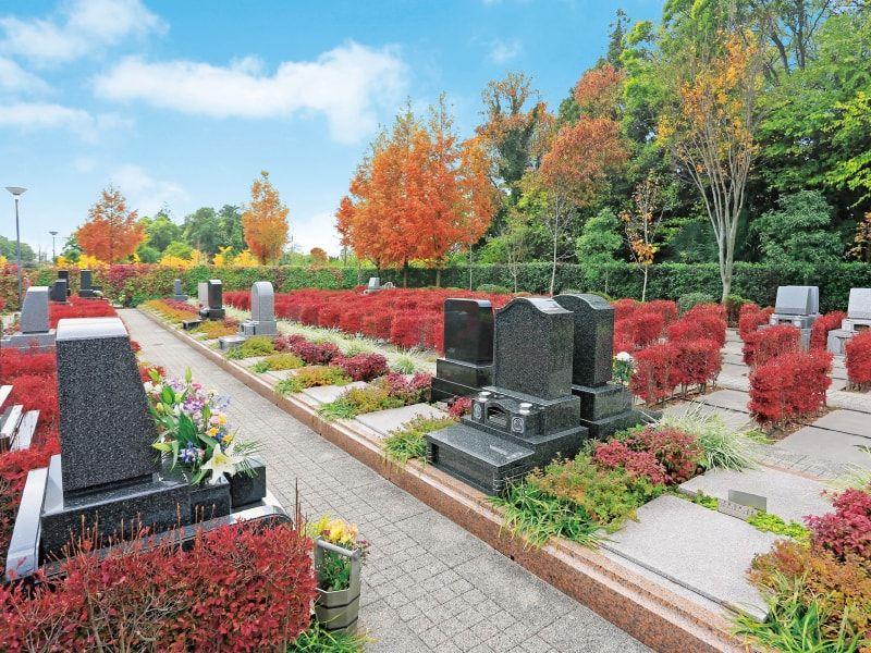海老名フォーシーズンメモリアル 生け垣に囲まれた墓石