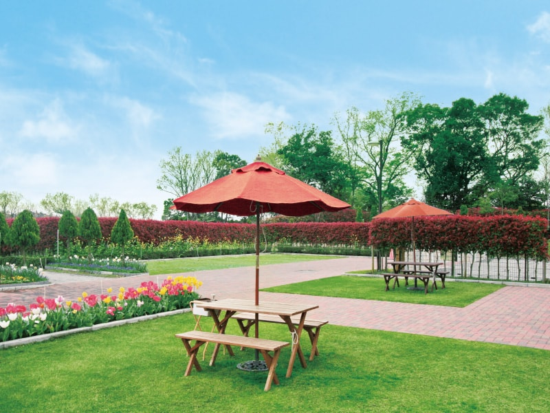 メモリアルパーク藤沢 緑や花が美しい庭園風の休憩スペース