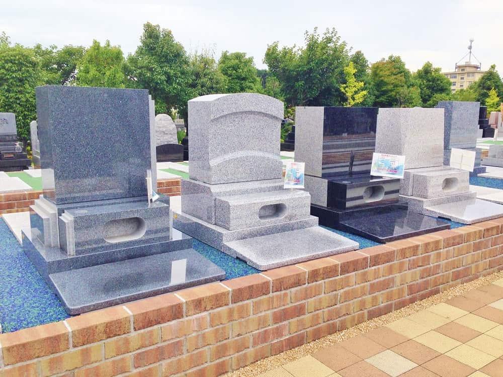 朝陽の杜墓苑「東の丘」 様々な種類がある墓石