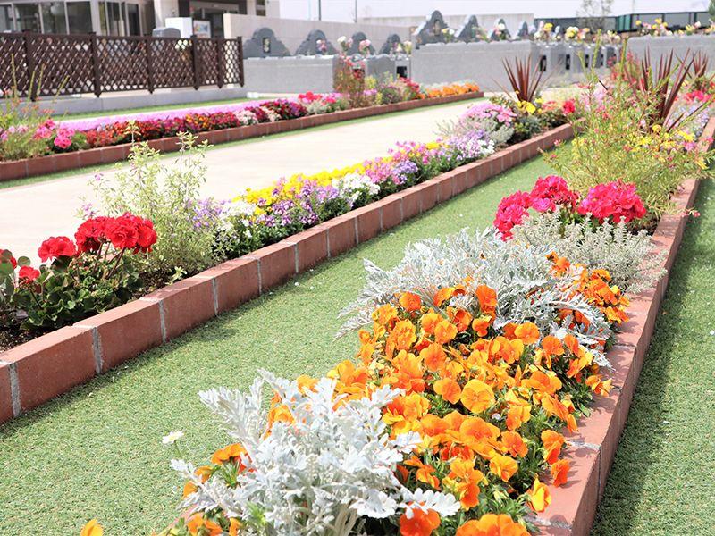 サニープレイス所沢 永代供養墓・樹木葬 参道のそばにある花壇