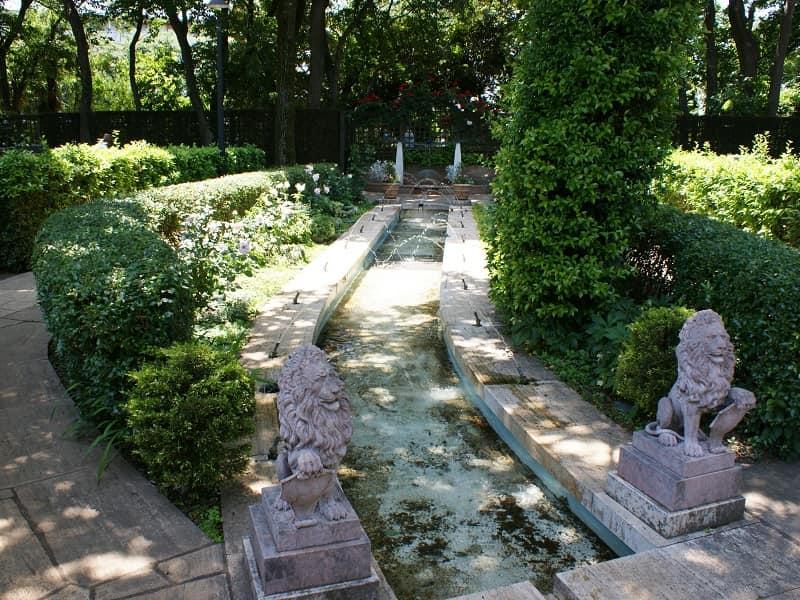 小平ふれあいパーク 噴水周辺に配置された植栽