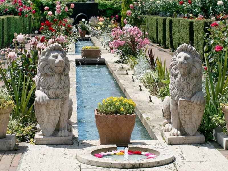 府中ふれあいパーク 噴水と鮮やかなバラ