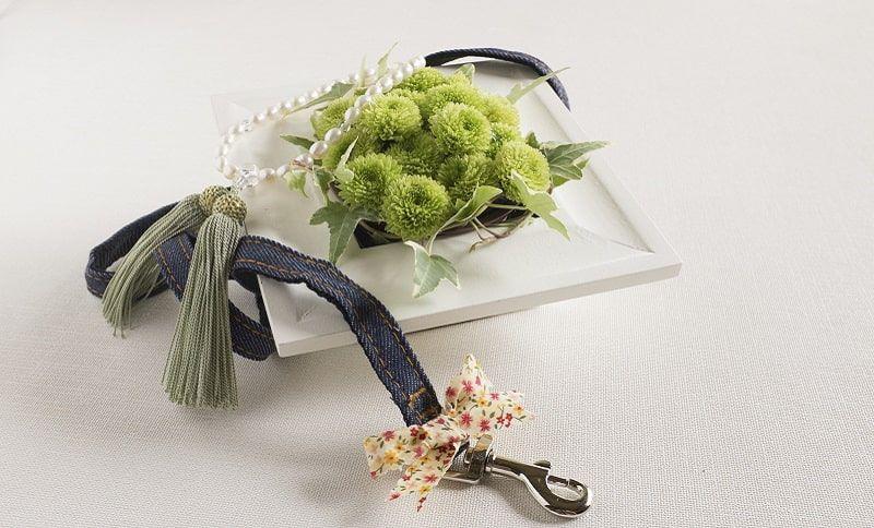 ペットのリードと花。樹木葬でペットを埋葬