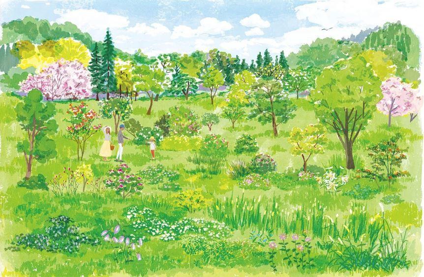 森の墓苑 温かみのある絵画
