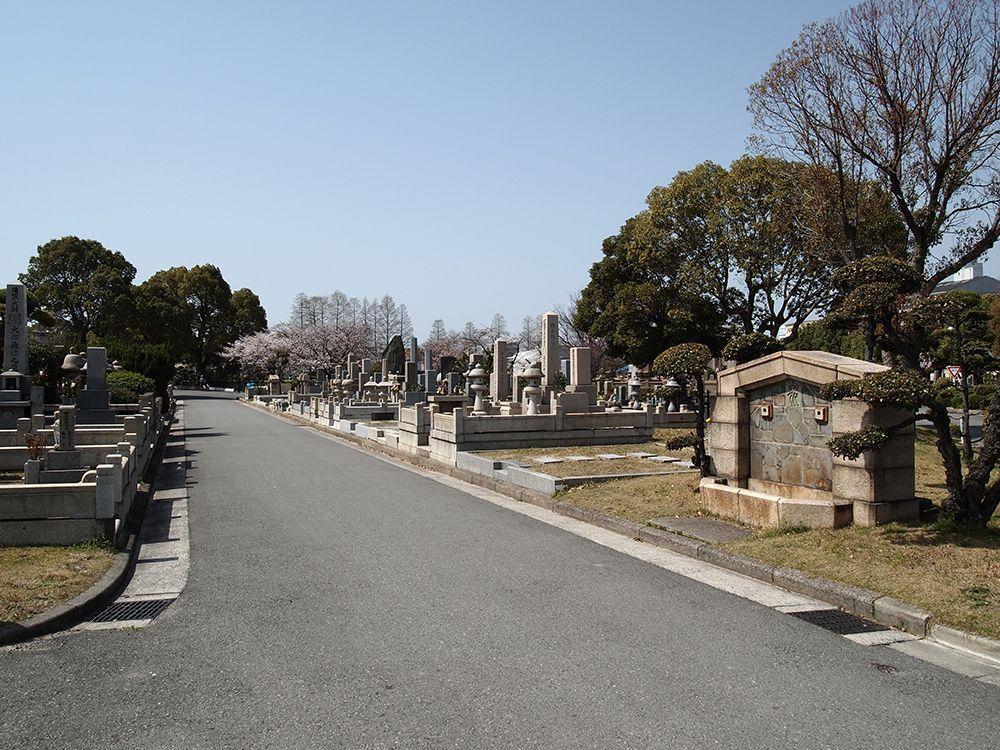 お墓の近くに車を横付けできる園内道路