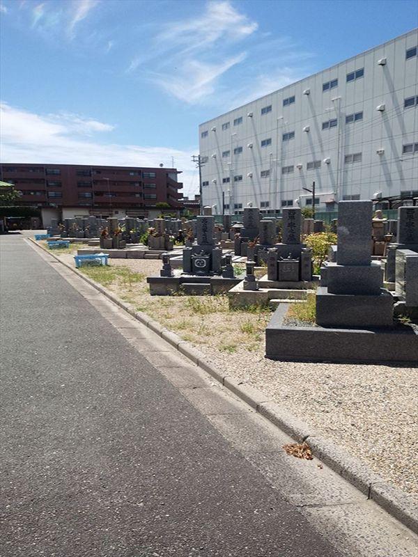 東大阪市営 楠根墓地 日の当たる墓地内