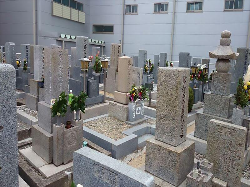 遠里小野霊園 花が供えられた墓石